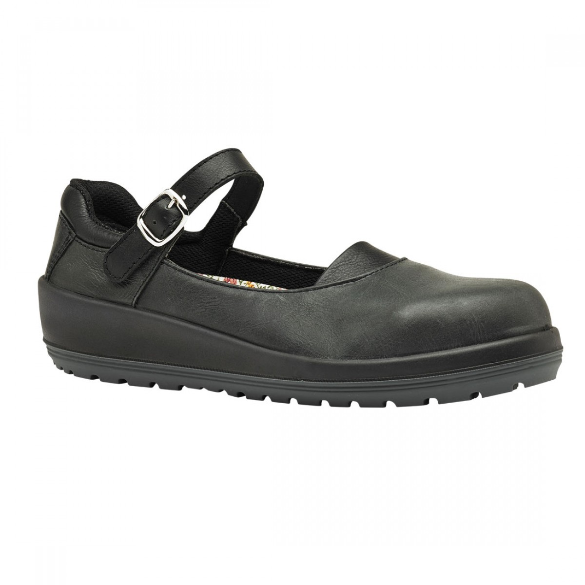 black leather buckle womens court style