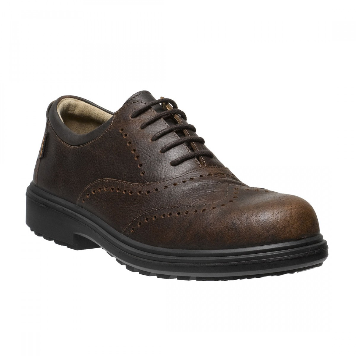 Osaka Mens Executive Brown Leather Brogue Metal Free
