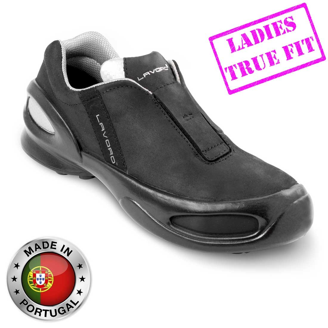 Lavoro Cat Woman Black Nubuck Leather Ladies Steel Toe Cap Safety Shoes