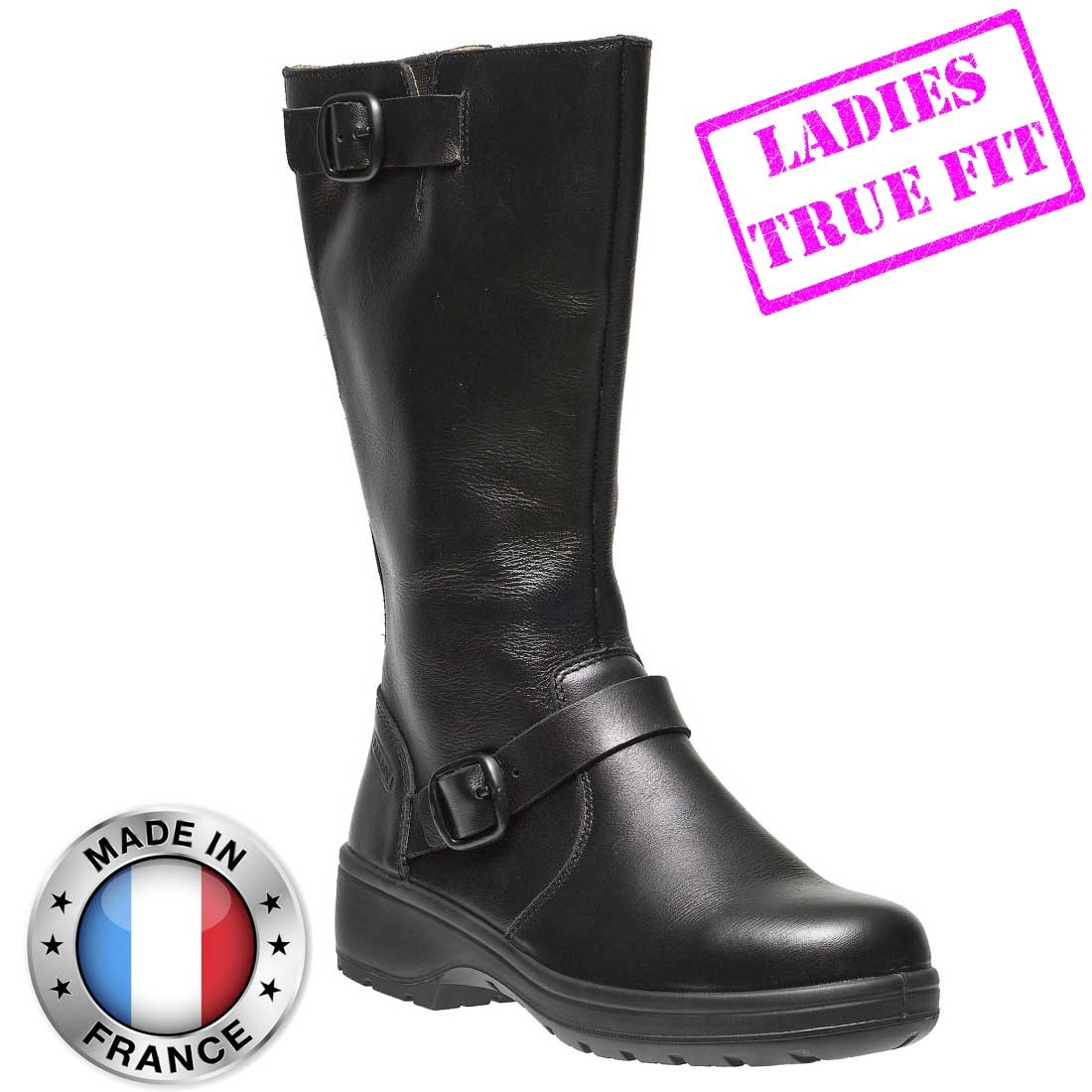 Delia Ladies Fitting High Leg Fashion Black Leather S3 Src