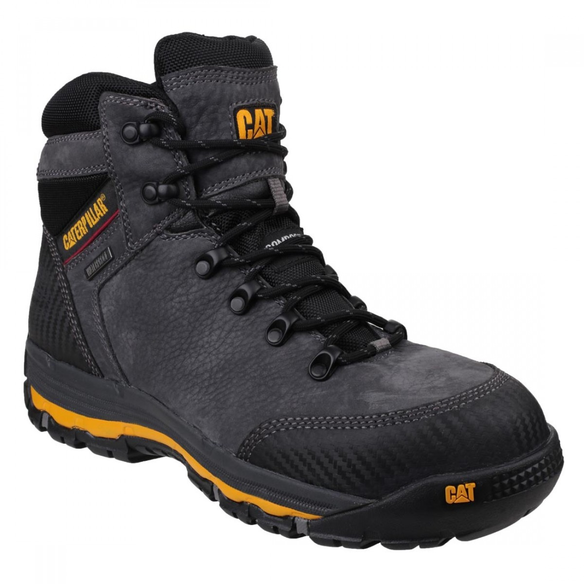 df859fbac Caterpillar Munising Waterproof S3 Grey Leather Mens Safety Hiker Boots