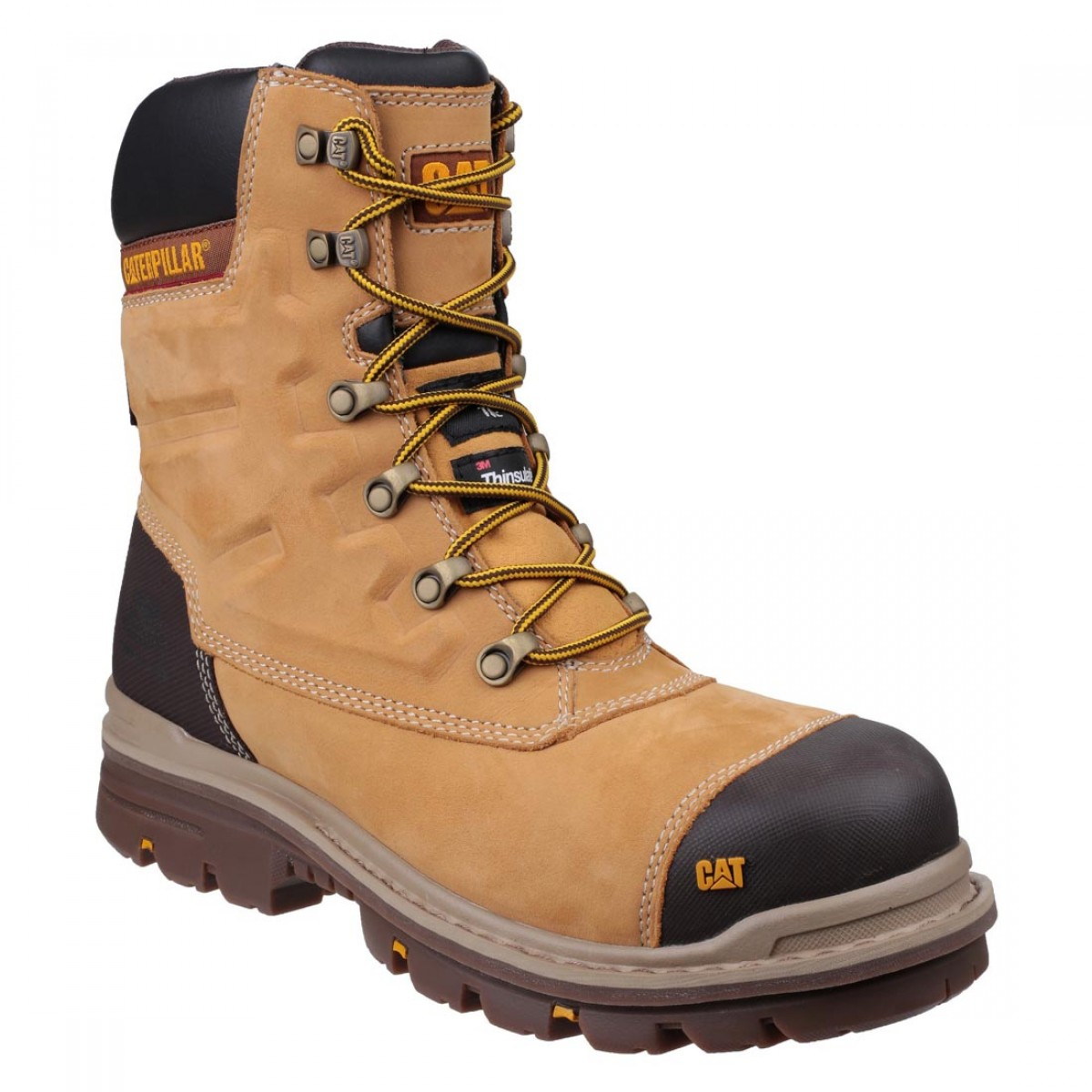 c8827fe2827 CAT Premier Honey Nubuck Waterproof Easy On Side Zip Mens Safety Boots