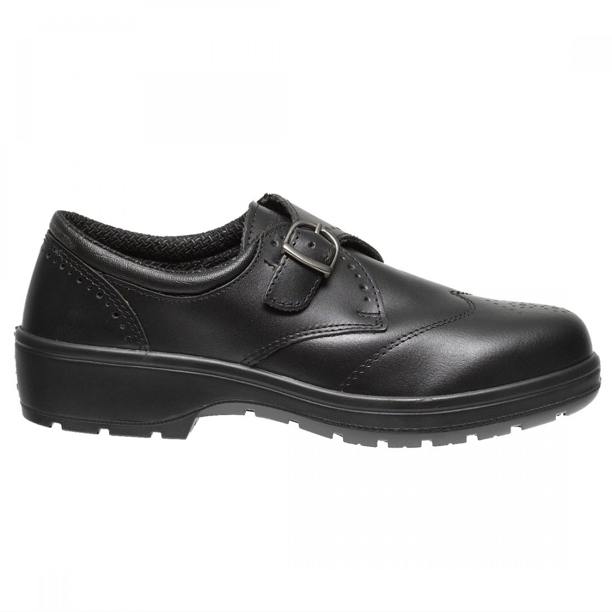 Dolby Smart Executive Ladies Black Leather Slip On Brogue Safety Shoes