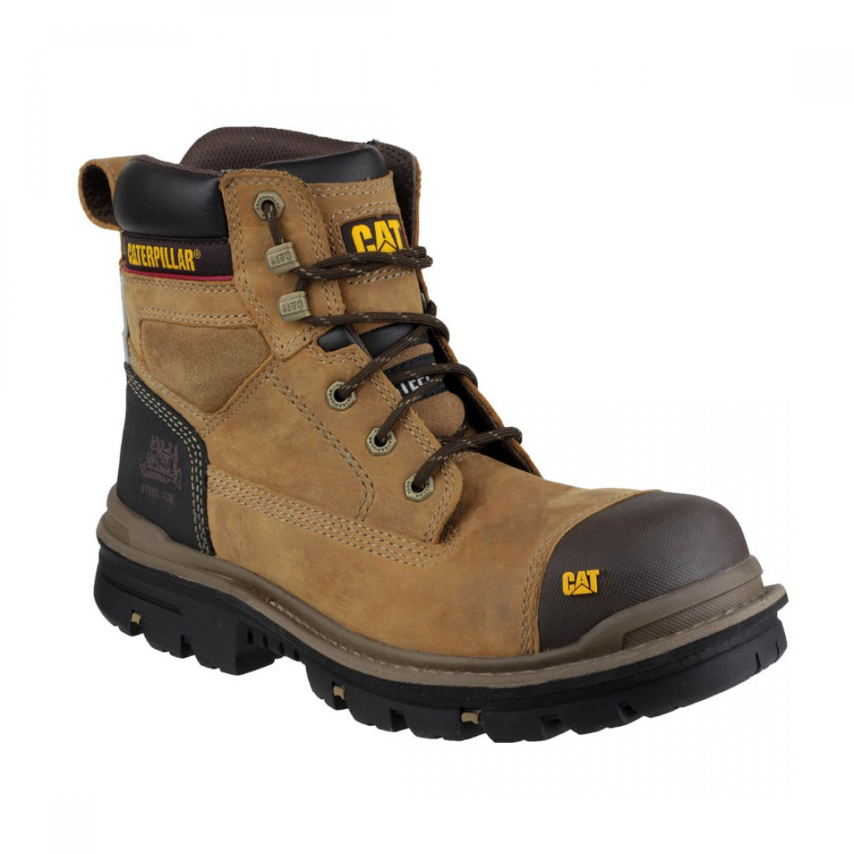 3e43044729f8 Caterpillar Dark Brown Gravel S3 Water Resistant Mens Safety Boots