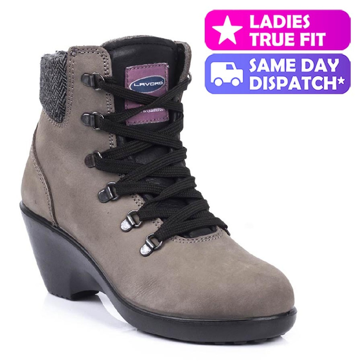 8135d1a9c8f Lavoro Geena ESD Black Nubuck Leather Steel Toe Cap Ladies Safety Boots