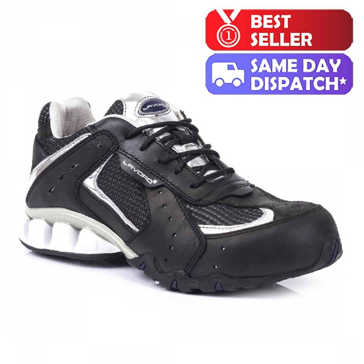 10eb4ebfa18 Lavoro Run Silver Unisex Lightweight Steel Toe Cap Safety Trainers