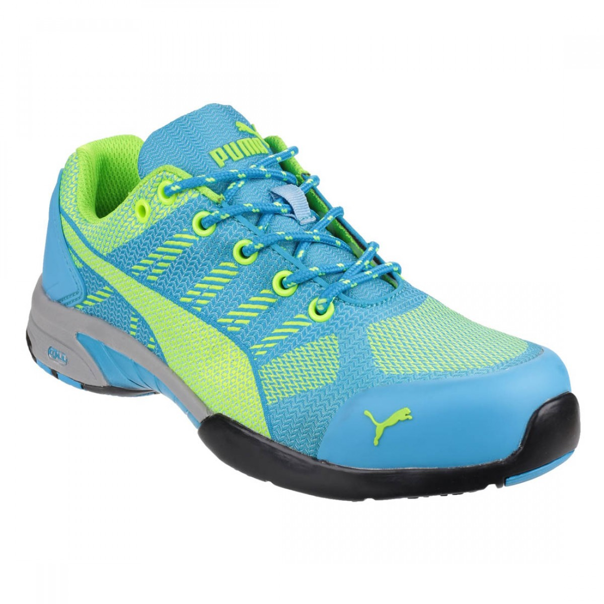 Puma Safety Celerity Knit Blue and Lime Ladies Safety Trainer Shoes 81006befb