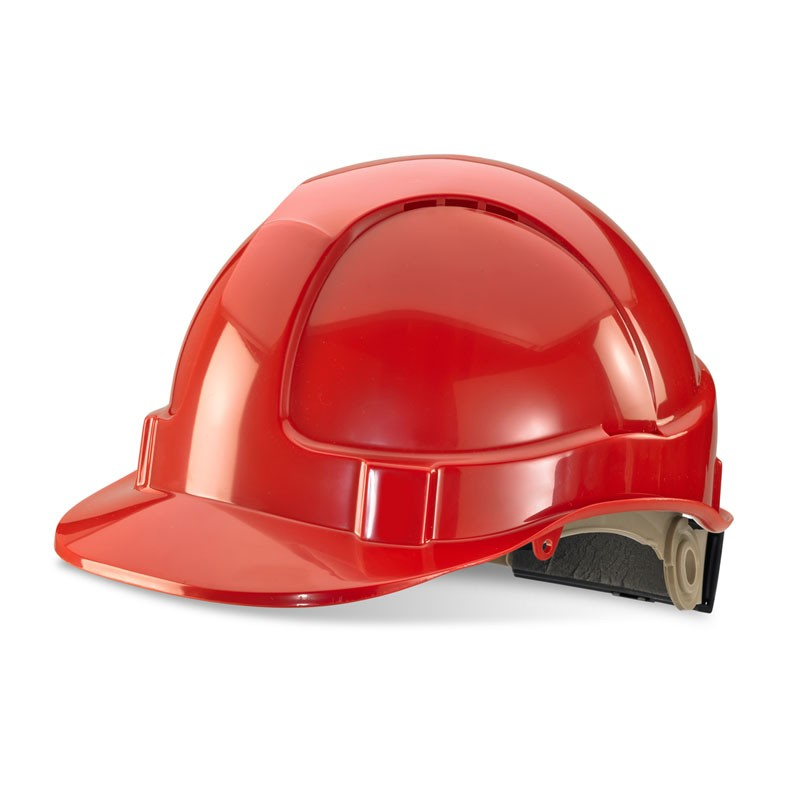 Premium Red Vented Safety Helmet with Rain Gutters and Ratchet Harness