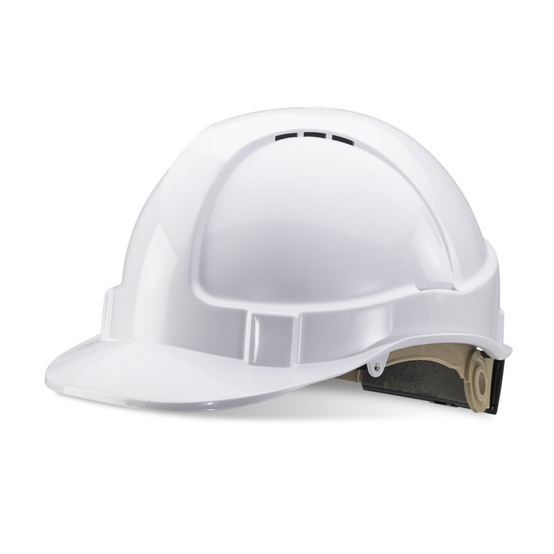 Premium White Vented Safety Helmet with Rain Gutters and Ratchet Harness