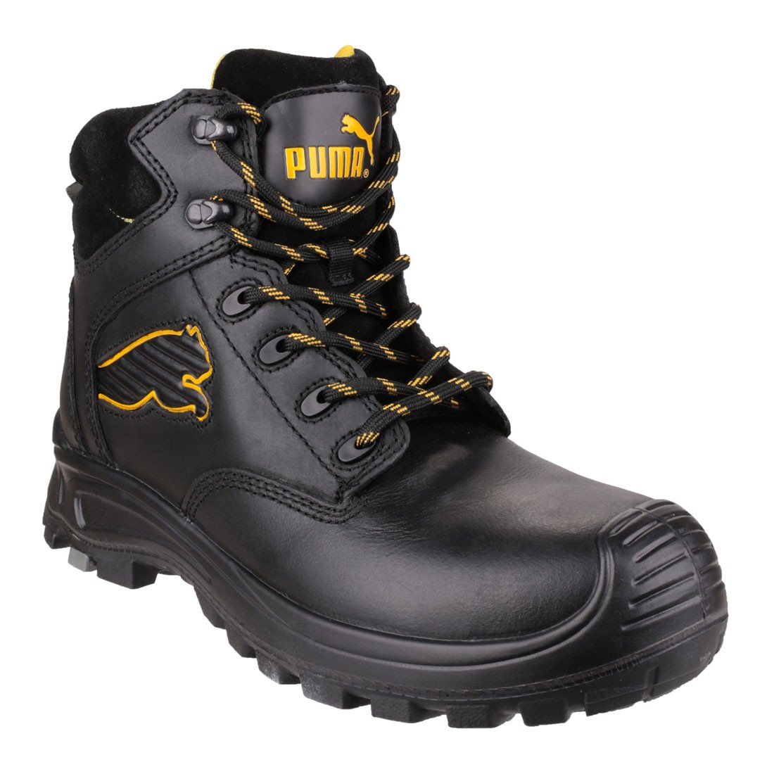 Puma Safety Boots Mens Borneo Mid Black Leather S3 Working Boots
