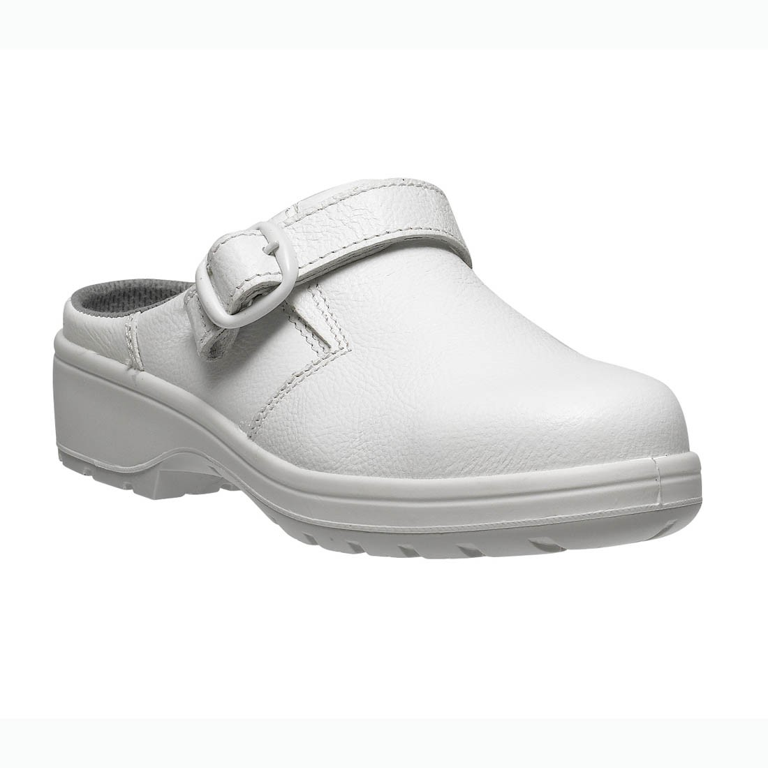 Parade Daisie White Microfiber Clog Style Slip On Ladies Safety Shoes