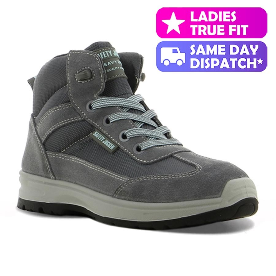 Safety Jogger Botanic Grey Leather S1P Lightweight Ladies Safety Boots