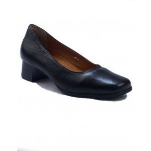 Amblers Walford Leather Black Court Ladies Shoes