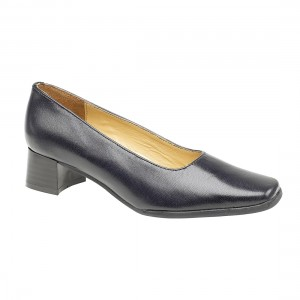 Amblers Walford Leather Navy Court Ladies Shoes