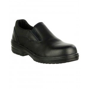 Charnwood Ladies Black Leather Lightweight S1P SRC Slip On Safety Shoes