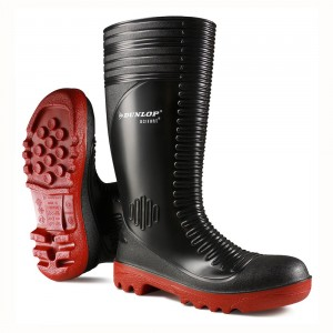 Dunlop Wellies - Black Acifort Ribbed Safety Wellingtons