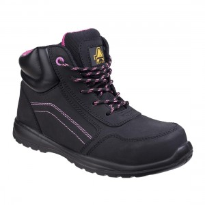 Amblers Lydia Black Leather Metal Free Side Zip Ladies Safety Boots