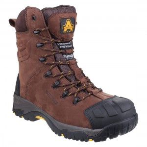Amblers Pillar Brown Leather Side Zip Waterproof Mens Safety Boots