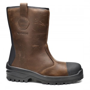 Base Elk B0745 Waxy Brown Leather Metal Free S3 SRC Safety Rigger Boots