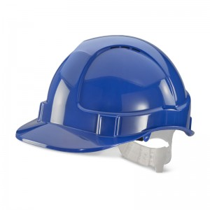 Economy Blue Safety Helmet Vented with Adjustable Plastic Harness