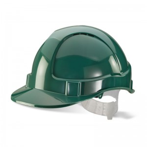 Economy Green Safety Helmet Vented with Adjustable Plastic Harness