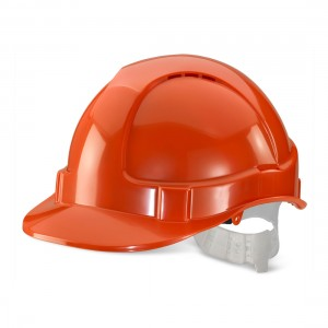 Economy Orange Safety Helmet Vented with Adjustable Plastic Harness