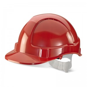 Economy Red Safety Helmet Vented with Adjustable Plastic Harness