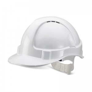 Economy White Safety Helmet Vented with Adjustable Plastic Harness