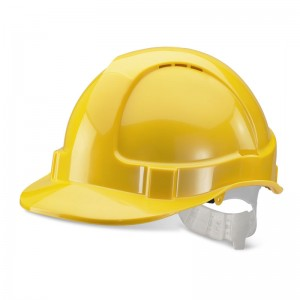 Economy Yellow Safety Helmet Vented with Adjustable Plastic Harness