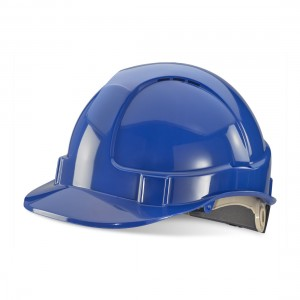 Premium Blue Vented Safety Helmet with Rain Gutters and Ratchet Harness