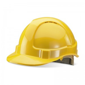 Premium Yellow Vented Safety Helmet with Rain Gutters and Ratchet Harness