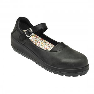 Bianca Black Leather Buckle Strap Womens Court Style Safety Work Shoes