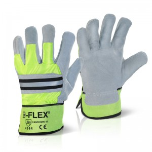 Canadian High Quality Rigger Gloves Grey Leather Palm High Viz Back