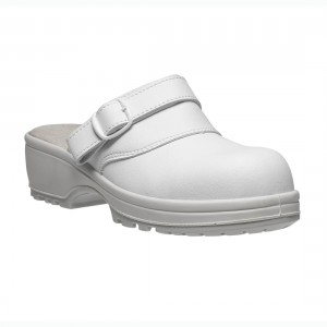 Candy Metal Free White Microfiber Slip Ladies Safety Clog Style Shoes