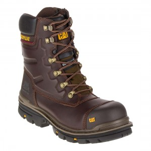 CAT Premier Waterproof Brown Moondance S3 Leather Side Zip Safety Boots