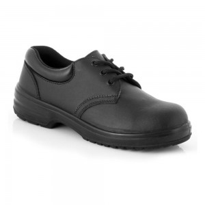 Charnwood Ladies Lightweight 3 Eyelet Black Leather S1P Safety Shoes
