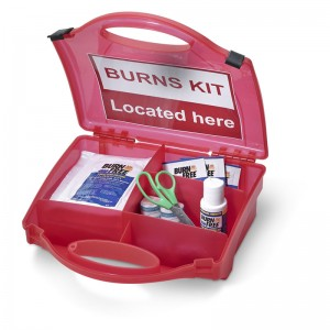 First Aid Burns Kits with Burns Kit Located Here Sign