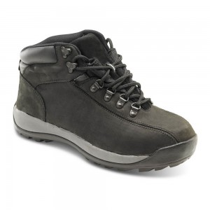 Mens Black Leather Steel Toe and Midsole Classic Hiker Safety Boots