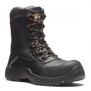 V12 Defiant E1300 IGS Black Leather S3 SRC Side Zip Safety Work Boots