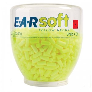 EAR Soft Yellow Neons One Touch Refill Bottle Ear Plugs 500 per Bottle