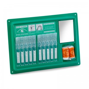 Wall Mountable Eyewash Pod Station with 10 x 20ML Emergency Eyewash Pods