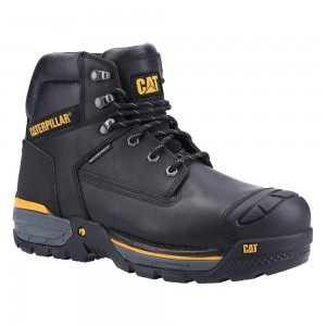 Caterpillar Excavator LT S3 Waterproof Black Leather Mens Safety Boots