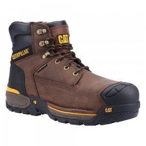 Caterpillar Excavator LT S3 Waterproof Brown Leather Mens Safety Boots