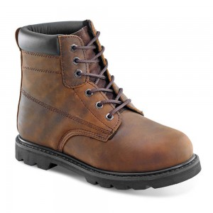 Mens Traditional Goodyear Welted Brown Leather SBP Safety Work Boots