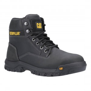 Caterpillar Median S3 Black Leather Water Resistant Safety Boots