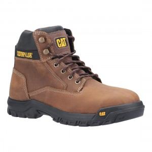 Caterpillar Median S3 Brown Leather Water Resistant Safety Boots