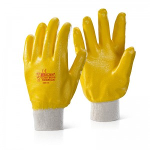 Lightweight Fully Coatd Yellow Nitrile Coated Knitted Wrist Work Gloves
