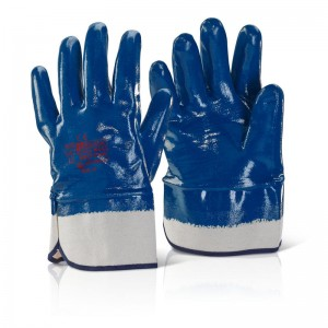 Blue Nitrile Heavyweight Fully Coated Work Gloves with Wide Safety Cuff