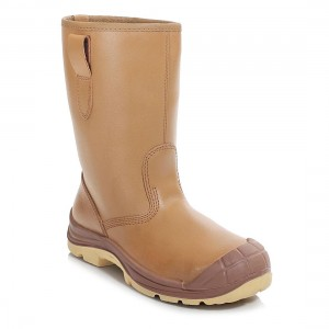 Perf Tan Leather Fur Lined S3 SRC Water Resistant Safety Rigger Boots