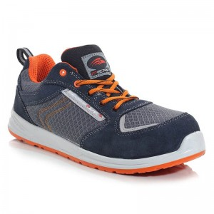 Perf Tiger Navy Orange Metal Free S1P Lightweight Mens Safety Trainers